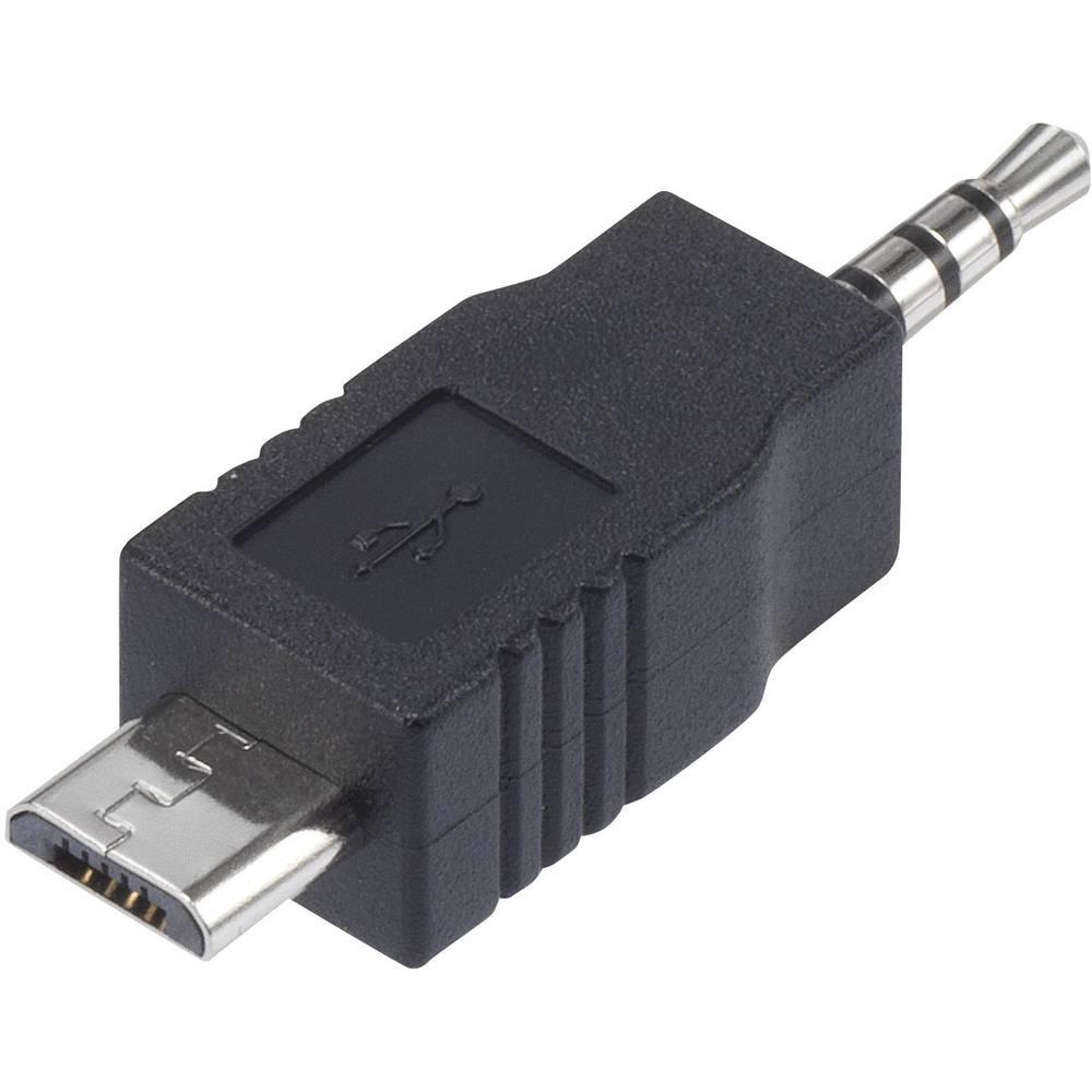 Podatkovni/Napajalni kabel Conrad za iPod [1x 2,5 mm priključek - 1x USB 2.0 Micro-B vtič] 0m, črn