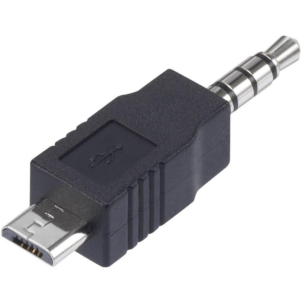 Podatkovni/Napajalni kabel Conrad za iPod [1x 3,5 mm priključek - 1x USB 2.0 Micro-B vtič] 0m, črn