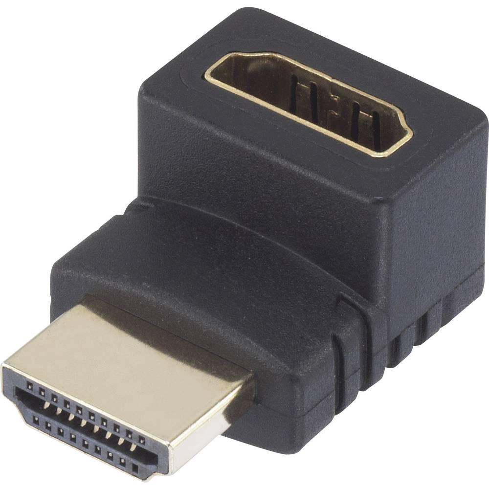 HDMI adapter SpeaKa Professional [1x HDMI-vtič <=> 1x HDMI-vtičnica] 270° na vzgor obrnjeni kotni pozlačeni zatiči, črn