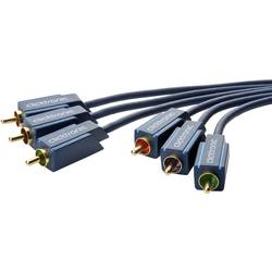 Anslutningskabel Komposit RCA AV clicktronic [3x RCA-hane - 3x RCA-hane] 2 m Blå