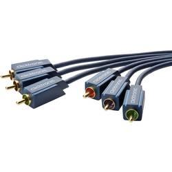 Anslutningskabel Komposit RCA AV clicktronic [3x RCA-hane - 3x RCA-hane] 5 m Blå