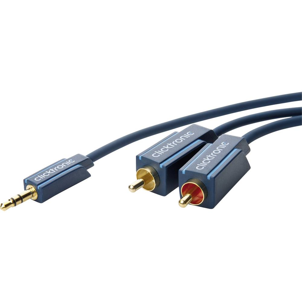 Avdio priključni kabel clicktronic [1x cinch vtič 3.5 mm - 2x Cinch vtič] 1 m moder pozlačen vtični kontakt