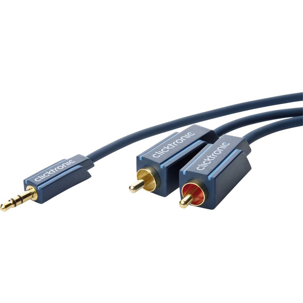 Avdio priključni kabel clicktronic [1x cinch vtič 3.5 mm - 2x Cinch vtič] 5 m moder pozlačen vtični kontakt