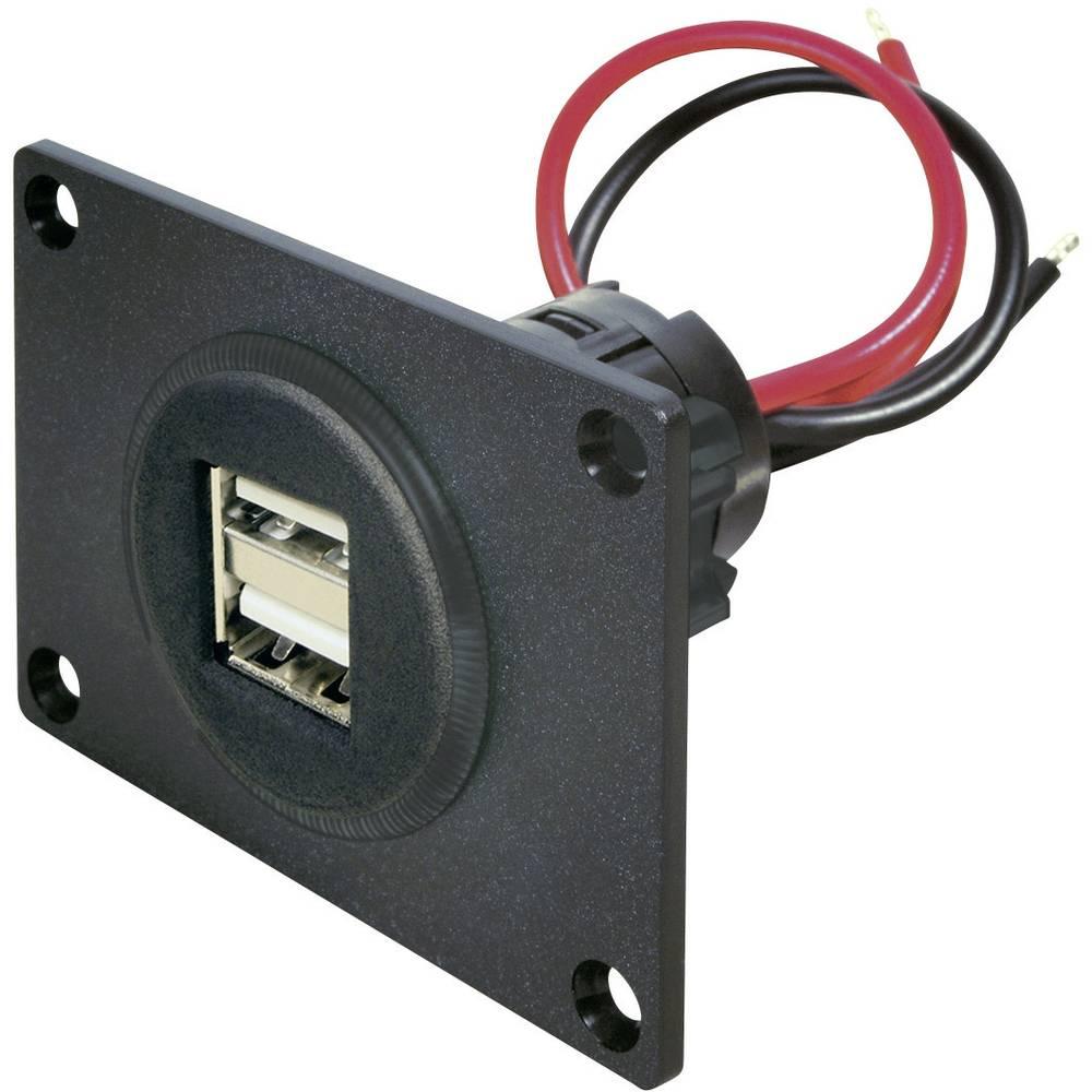 Stikdåse Indbygning, spændemuffe, plade ProCar Power USB Doppelsteckdose 12-24 V Platte 12 V til 5 V, 24 V til 5 V 5 A Kabel afi