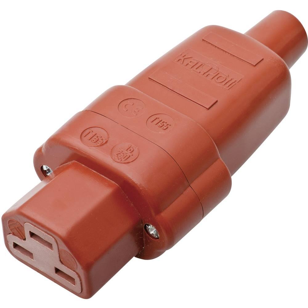 Vtični konektor za tople naprave C21 Buchse, raven, skupno število polov: 2 + PE 16 A rdeče barve Kalthoff 444Si 1 kos