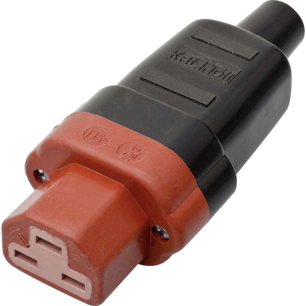 Utični konektor za tople uređaje C21 Kalthoff, ženski, ravni broj polova: 2 + PE 16 A crna, crvena 444 P/Si 1 komad