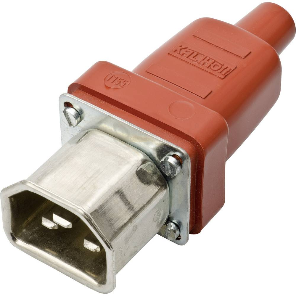 Utični konektor za tople uređaje C22 Kalthoff ravni broj polova: 2 + PE 16 A crvena, metal 444S/D/Si 1 komad