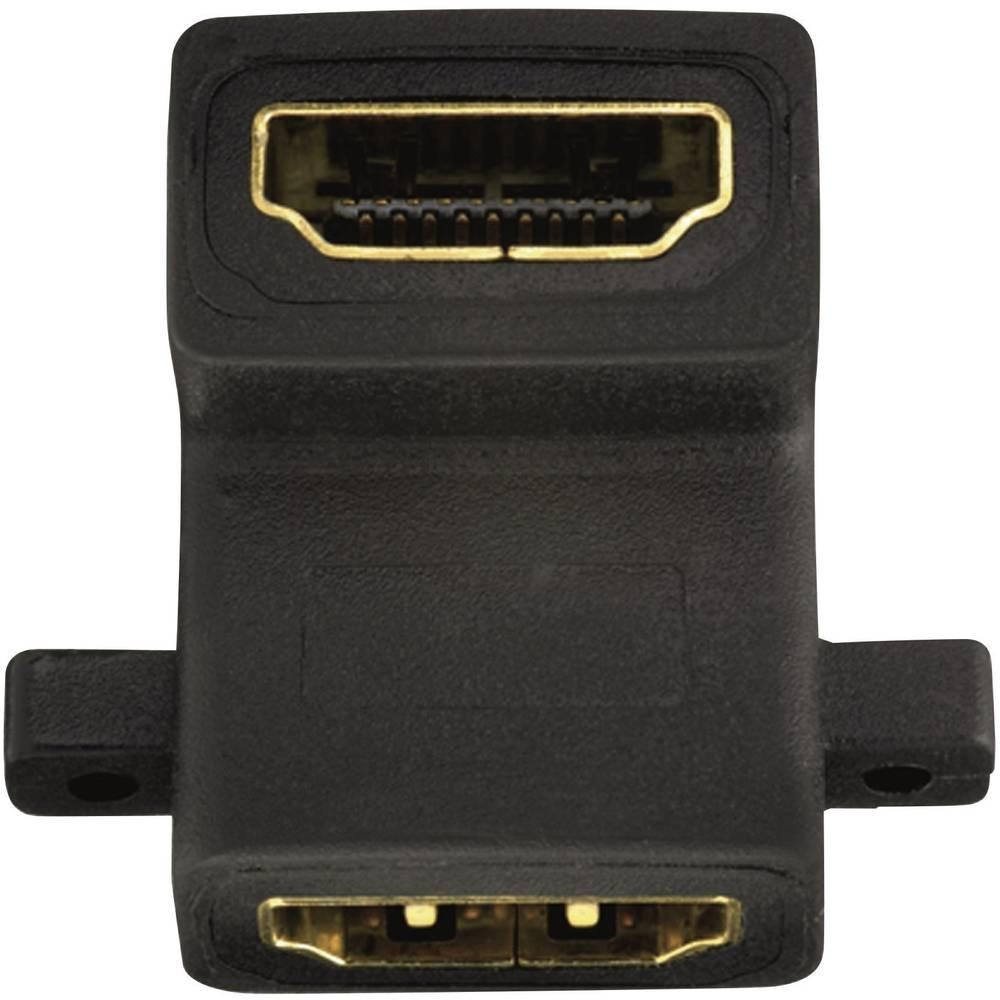 HDMI adapter, kotni na eni strani [1x HDMI vtičnica <=> 1x HDMI vtičnica] 0 m črne barve, Inakustik