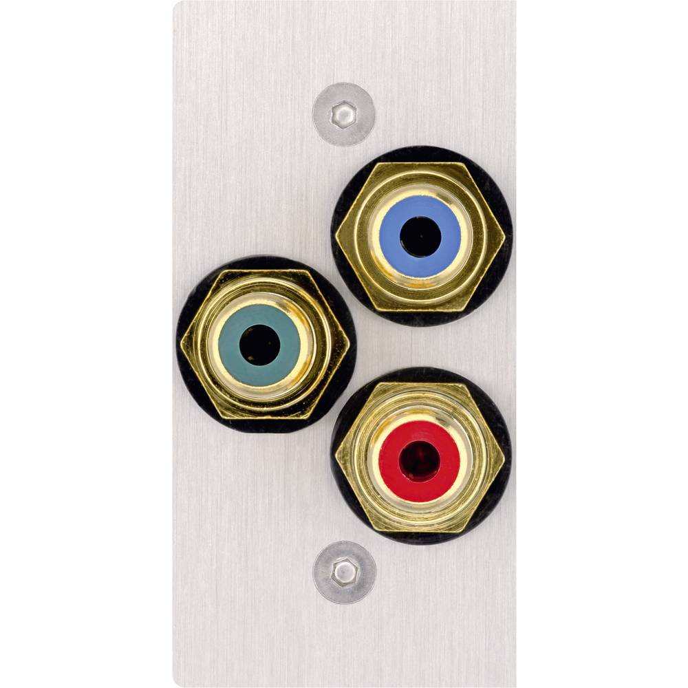 Cinch AV pokrov priključkov za zvočnik [3x Cinch vtičnica - 3x spajkalni] nerjavno jeklo Inakustik