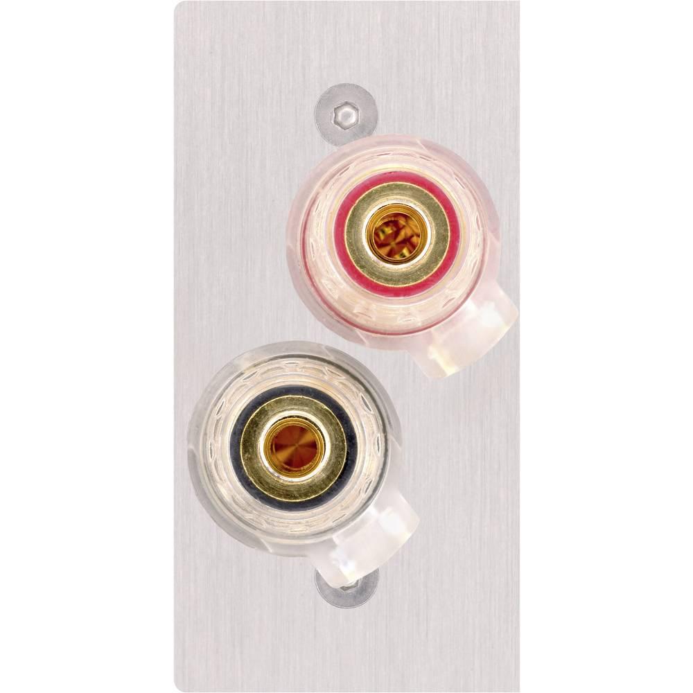 AV pokrov priključkov za zvočnik [2x vtičnica za zvočnik - 2x spajkalni] nerjavno jeklo Inakustik