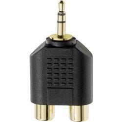 Klinken/Cinch avdio Y-adapter [1x klinken vtič 3.5 mm - 2x Cinch vtičnica] črne barve, Inakustik