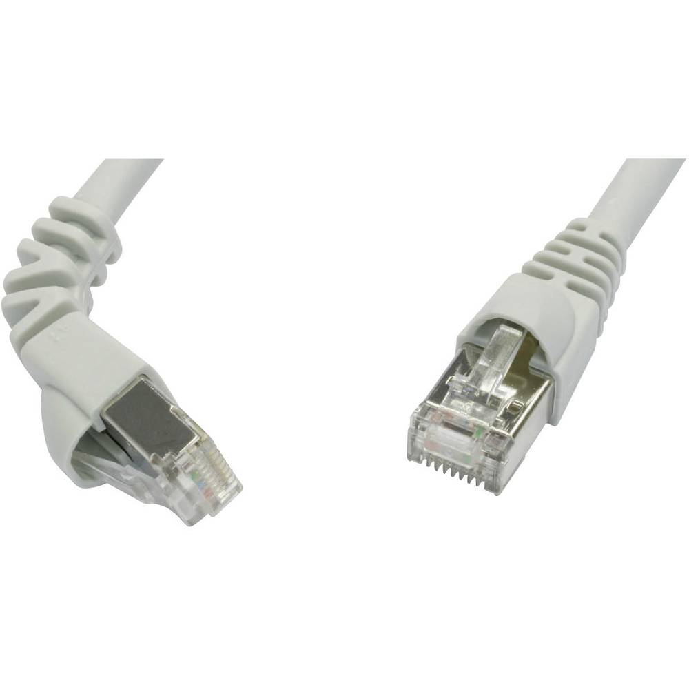 RJ45 omrežni priključni kabel CAT 6A S/FTP [1x RJ45-vtič - 1x RJ45-vtič] 3 m siv negorljiv, z Rastnasenschutz