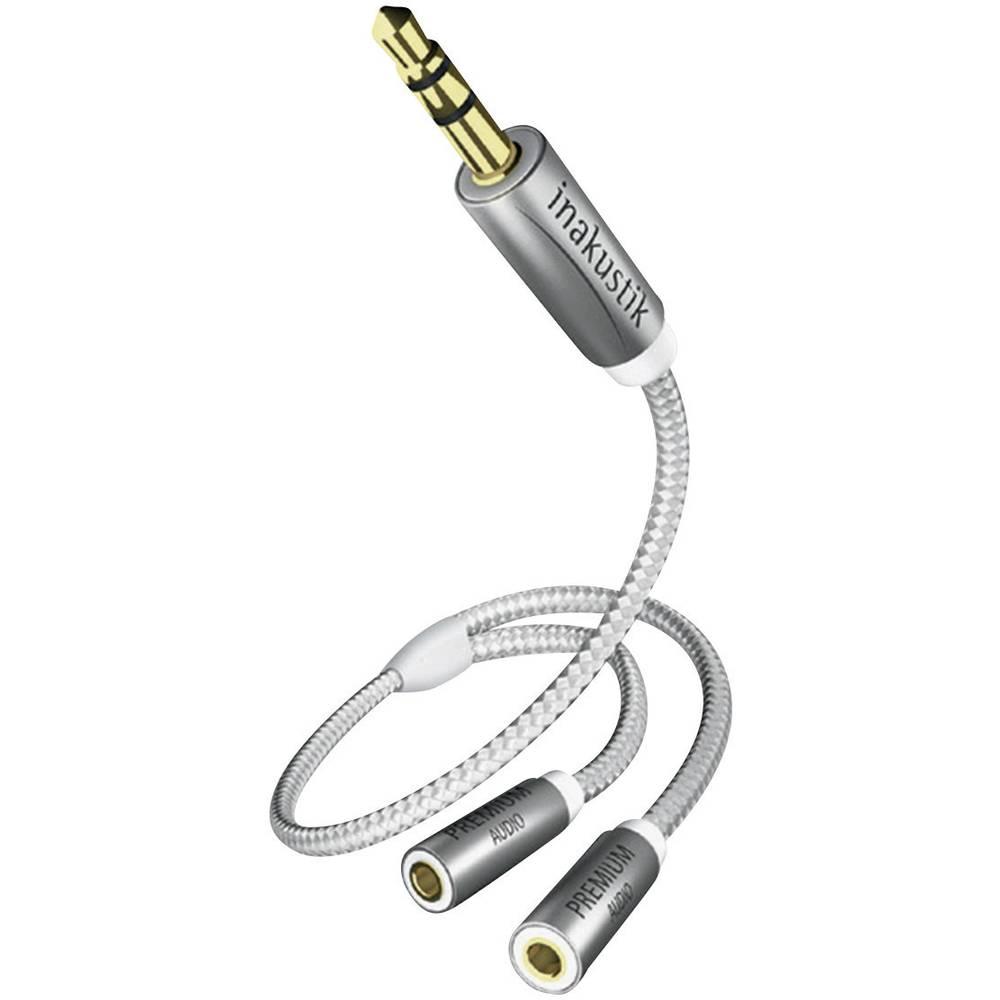 Klinken avdio adapter [1x klinken vtič 3.5 mm - 2x klinken vtičnica 3.5 mm] 0.20 m antracitne barve, pozlačeni vtični kontakti