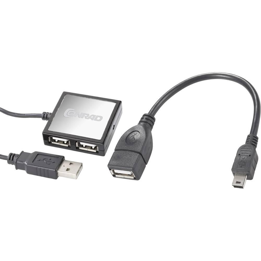 4 vhodni USB 2.0 razdelilnik z OTG funkcijo Conrad črna / srebrna