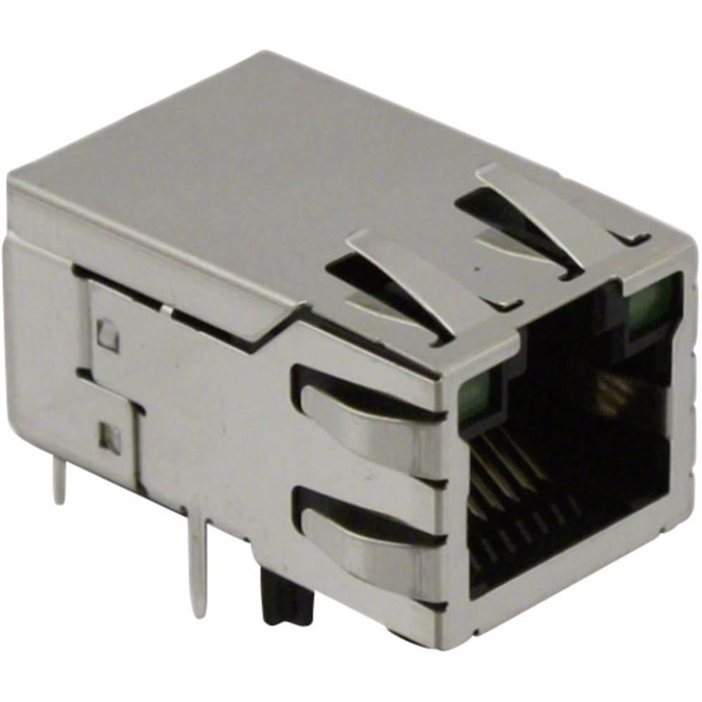MagJack 10/100Base-TX 4 pretvornik z LEDs vtičnico, vgraden horizontalen 10/100Base-TX, polov: 8P8C SI-50170-F ponikljan, kovins