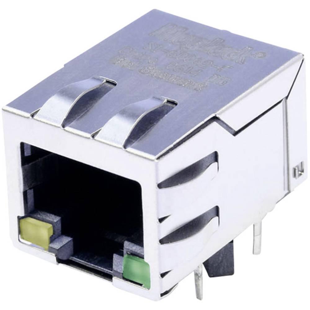 MagJack 10/100Base-TX 4 pretvornik z LED Tab down vtičnico, vgraden horizontalen 10/100Base-TX, polov: 8P8C ponikljan, kovinska