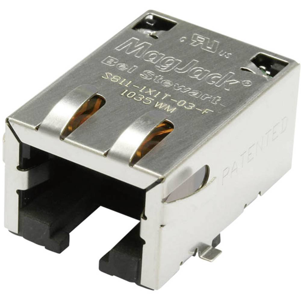 MagJack 10/100Base-TX 5 pretvornik Tab down vtičnica, vgraden horizontalen 10/100Base-TX, polov: 8P8C S811-1X1T-03-F ponikljan,