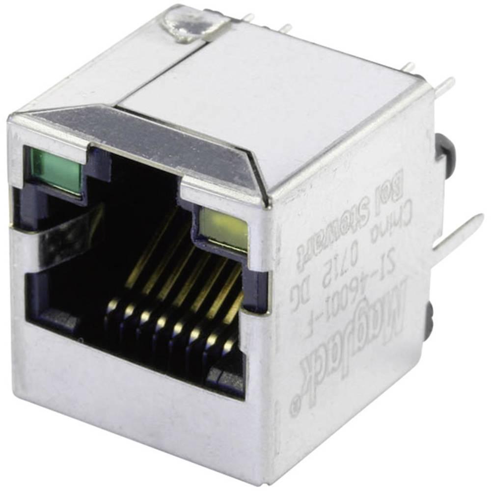 MagJack 10/100Base-TX vertikalen 4 pretvornik z LEDs vtičnico, vgraden vertikalen 10/100Base-TX, polov: 8P8C SI-46001-F poniklja
