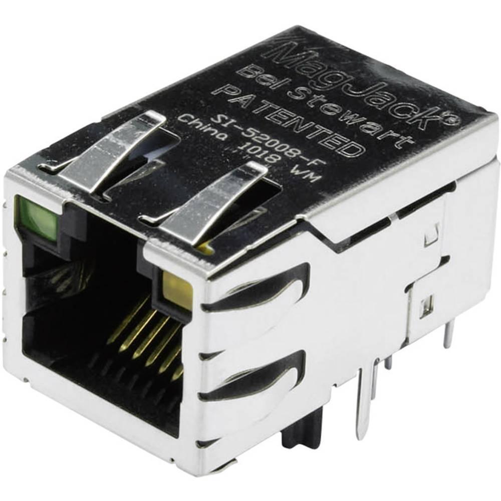 MagJack 10/100Base-TX PoE 4 pretvornik z LEDs vtičnico, vgraden horizontalen PoE, polov: 8P8C SI-52008-F ponikljan, kovinska BEL