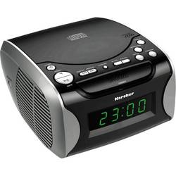 FM Klockradio Karcher UR 1306 AUX, CD, MW, FM Svart, Silver