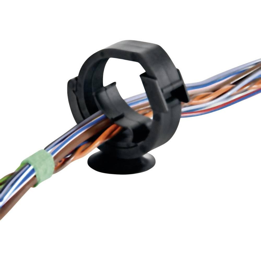 Držalo za kable samozapiralno, možna ponovna uporaba črne barve HellermannTyton 151-00208 AHC2BH 1 kos