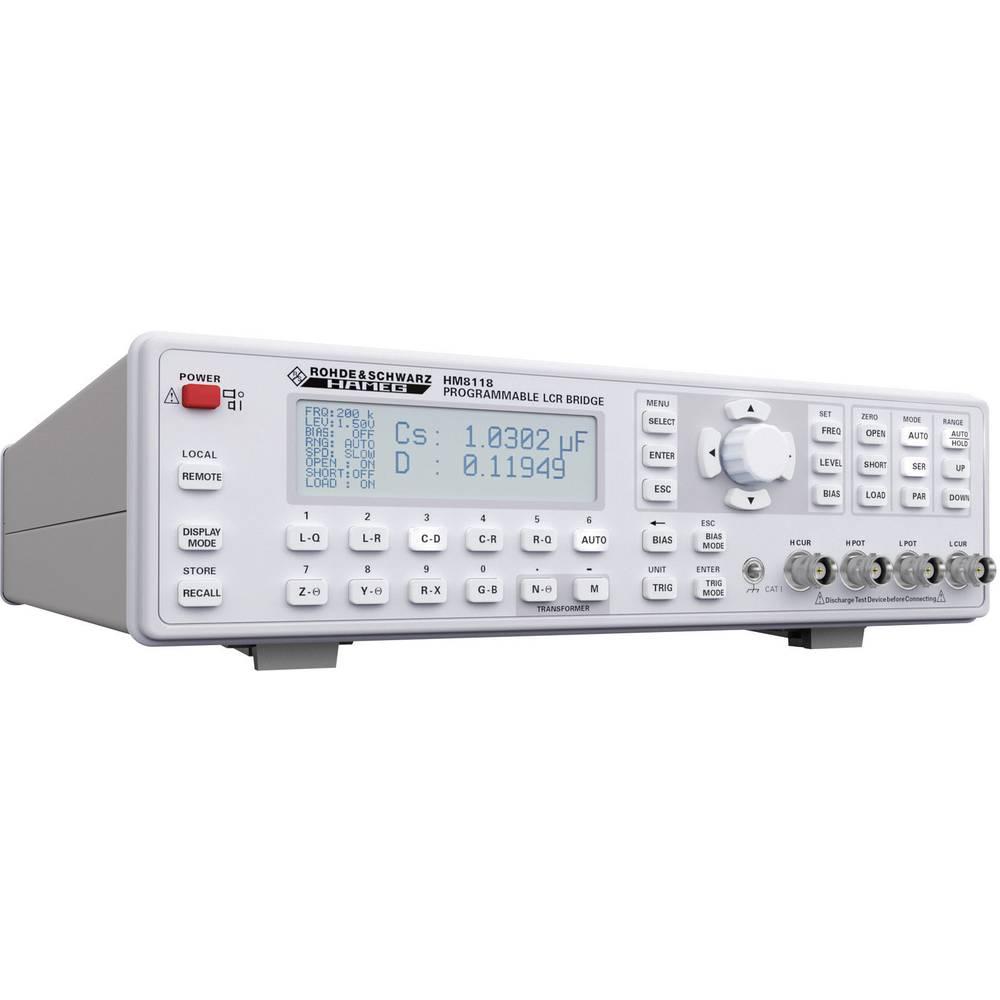 Tester komponent, digitalni Rohde & Schwarz HM8118 kalibracija narejena po: delovnih standardih, CAT I število znakov na zaslonu
