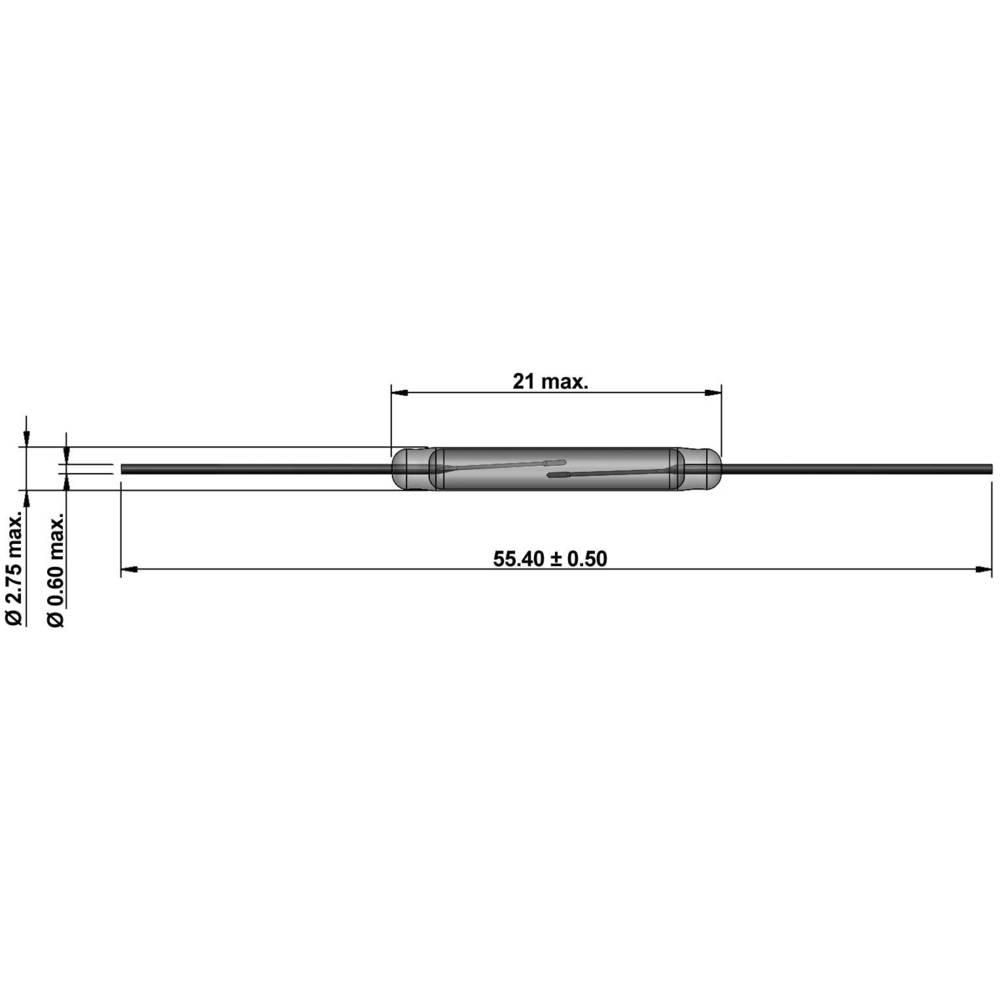 Reed-stikalo-zapiralno 1000 V/DC, 1000 V/AC 1 A 100 W dolžina steklenega dela:21 mm StandexMeder Electronics KSK-1A85-2535