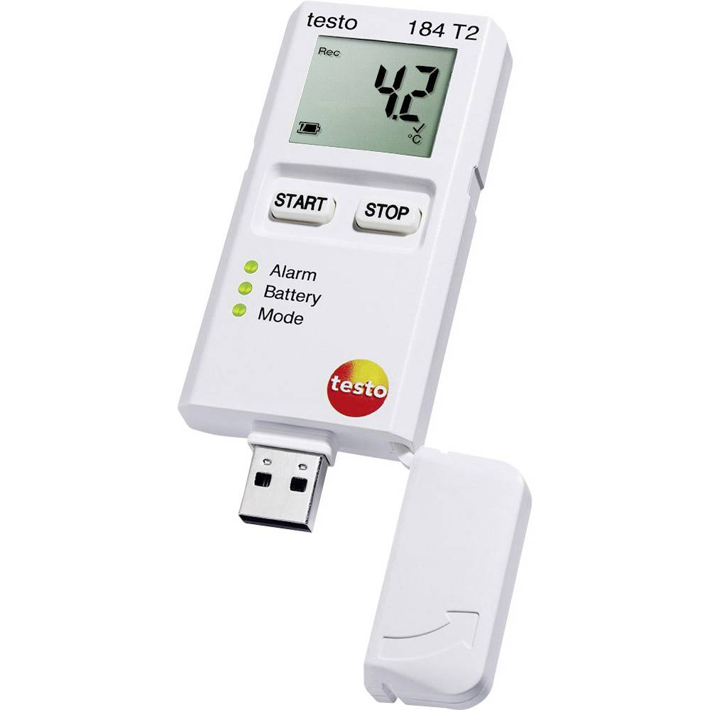 Zapisivač podataka temperature testo 184 T2 mjerno područje temperature -35 do +70 °C kalibrirano prema tvorničkom standardu (be