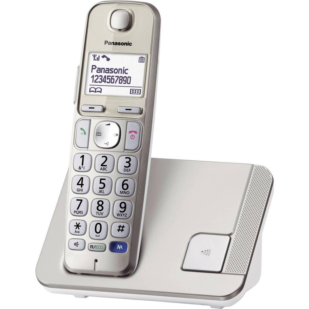 Brezžični telefon za starejše osebe Panasonic KX-TGE210 prostoročno telefoniranje, osvetljen zaslon, barva šampanjca