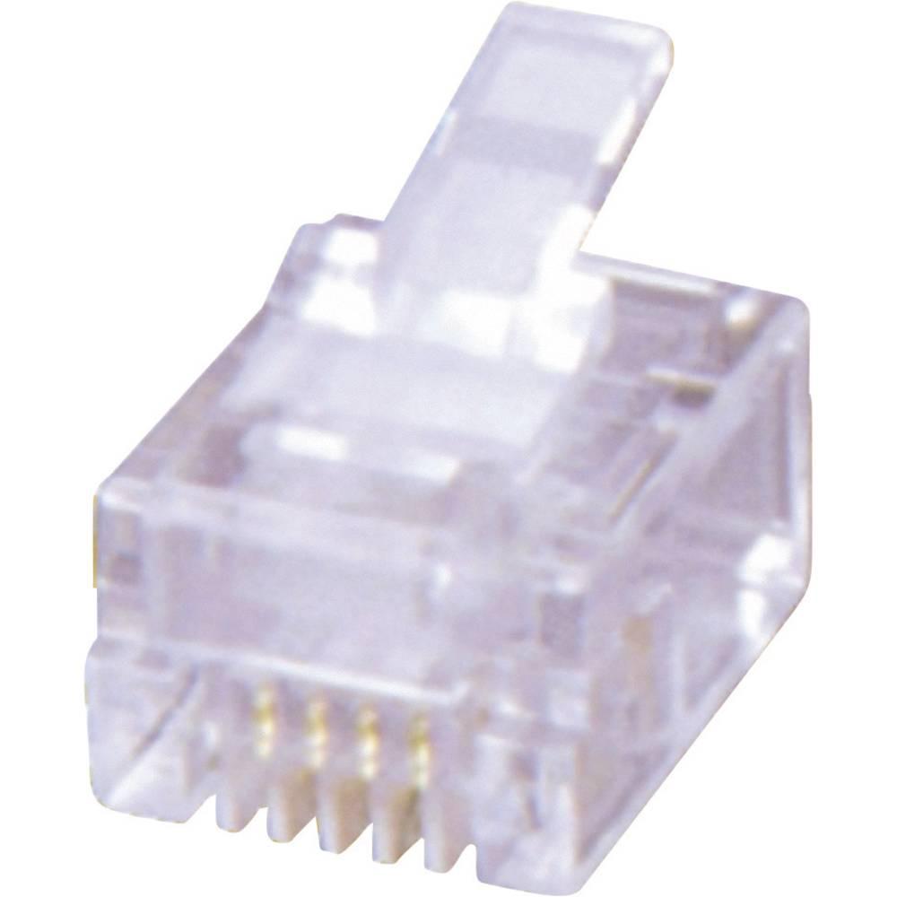 RJ12-modularni vtič, raven, polov:6P6C MHRJ126P6CR prozorne barve MH Connectors 6510-0104-04 1 kos