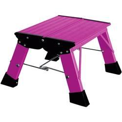 Aluminijasta dvojna, zložljiva lestev, delovna višina (maks.): 2.20 m Krause Treppy PlusLine 130358 roza barve 1.8 kg
