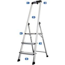Aluminijasta samostoječa lestev, delovna višina (maks.): 2.65 m Krause Safety 127914 srebrne barve 4.6 kg