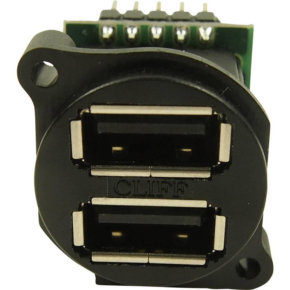 Dvojna USB vtičnica v XLR obliki, vgradna, vertikalna CP30090 XLR-USB2x2 Cliff vsebuje: 1 kos