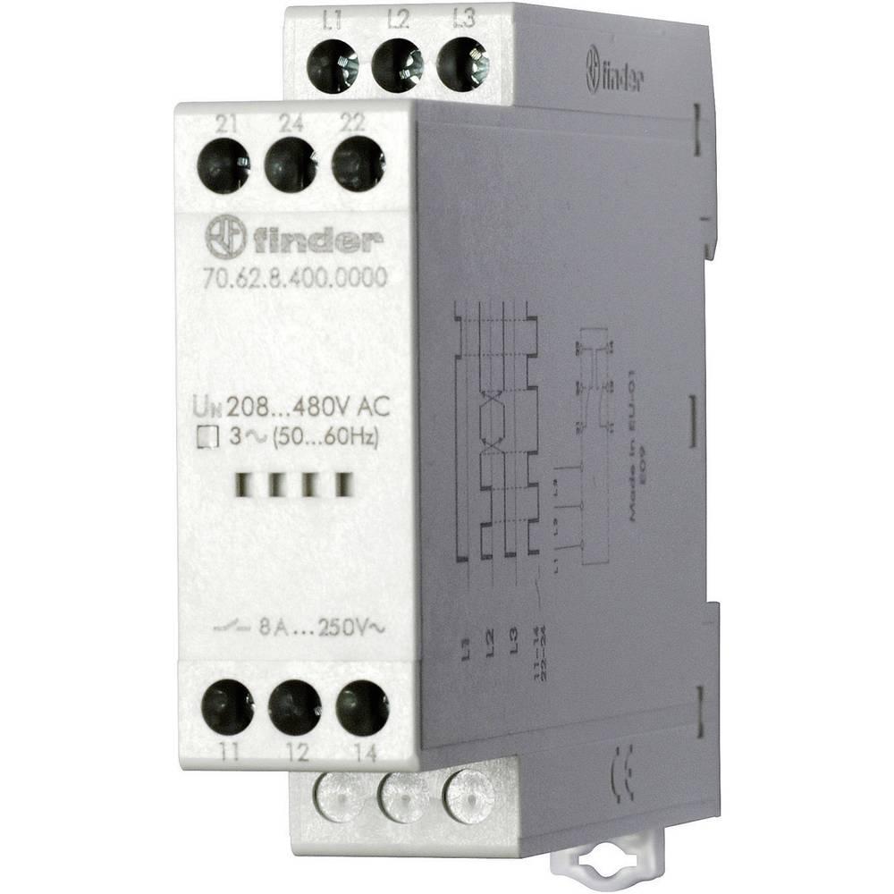 Nadzorni relej 70.62.8.400.0000 Finder 170 - 520 V/AC 2 izmjenična kontakta Finder 3-fazni, mrežni nadzor, fazni slijed, ispadan