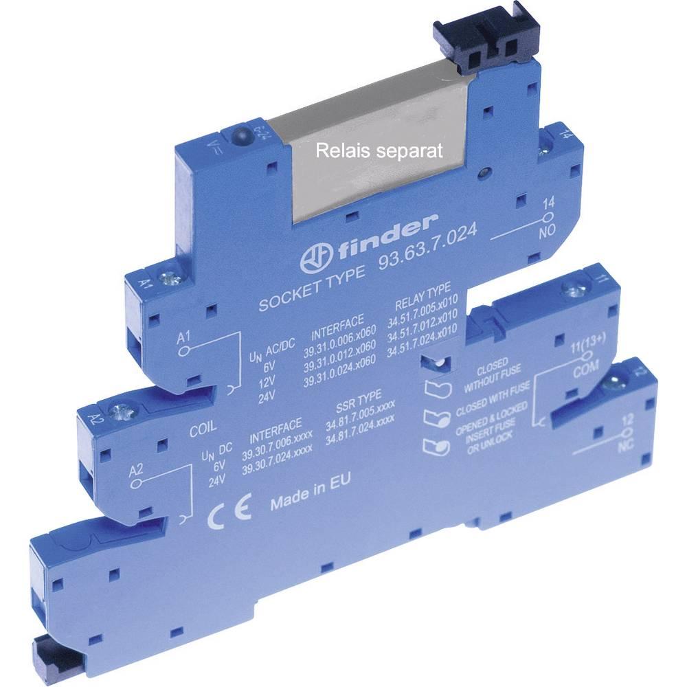 Relæsokkel med holdebøjle, med LED, med EMC-bestykning af relæspolen 1 stk Finder 93.63.7.024 Passer til serie: Phoenix Contact