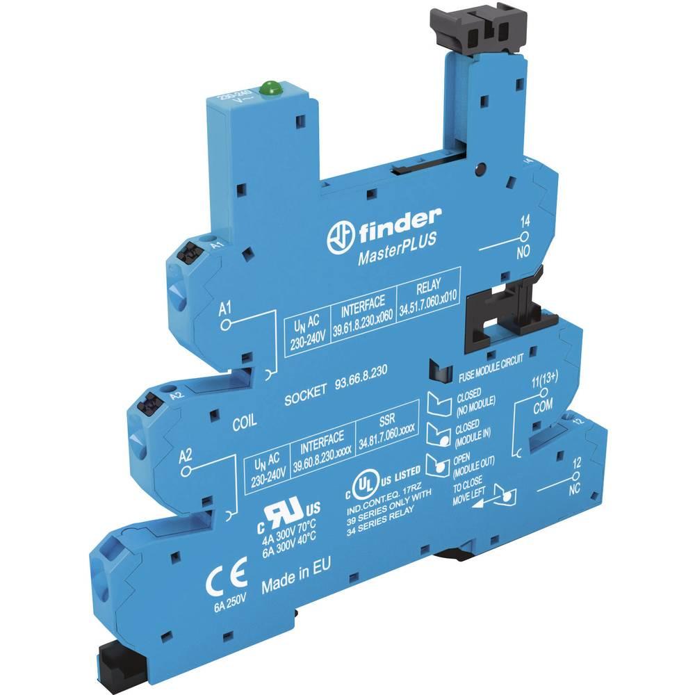 Podnožje za EMV rele z LED in s plastično zaponko za varno odstranitev 1 kos Finder 93.66.3.125 Finder Serie 34 Finder 34.51, Fi