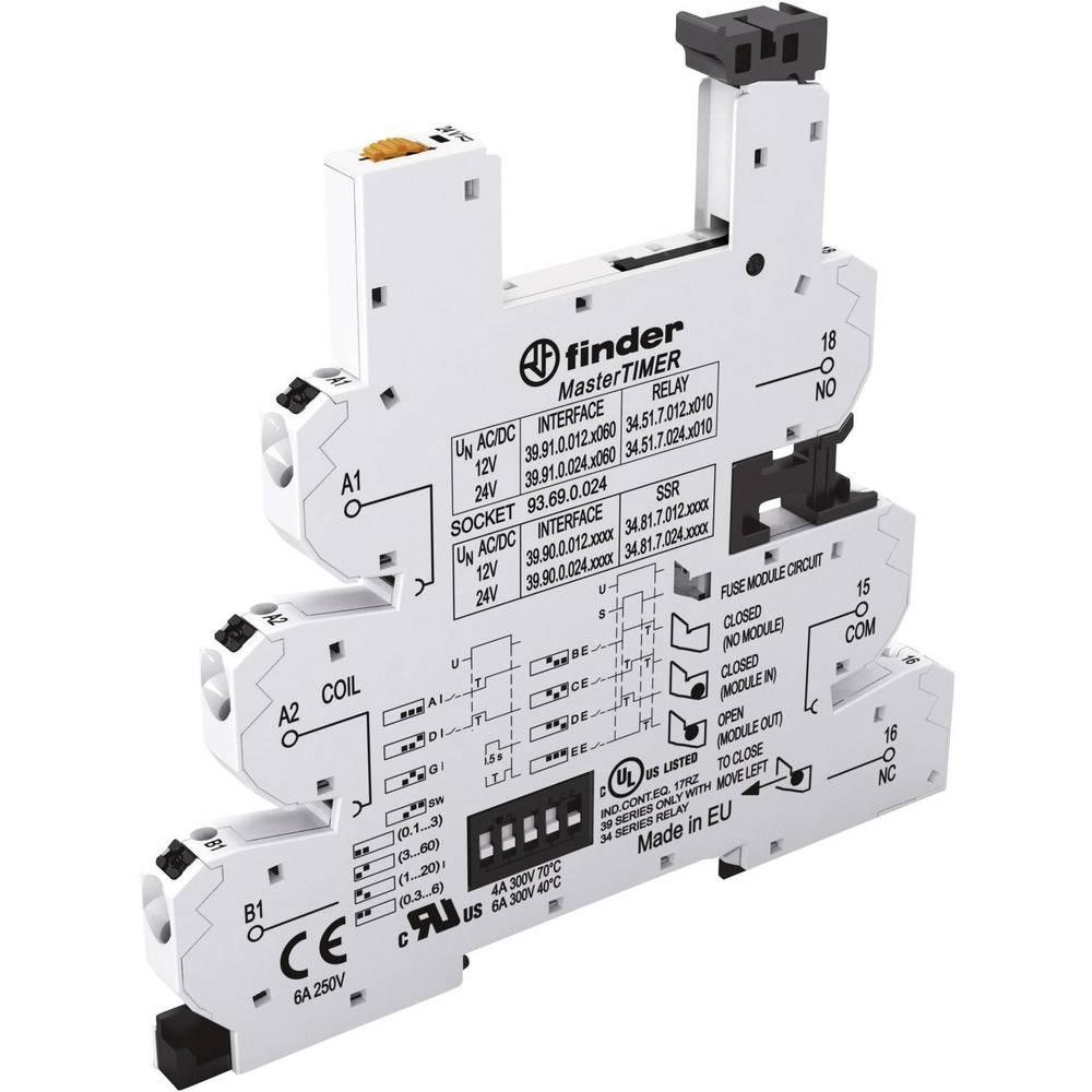 Podnožje za EMV rele z LED in s plastično zaponko za varno odstranitev 1 kos Finder 93.69.0.024 Finder Serie 34 Finder 34.51, Fi