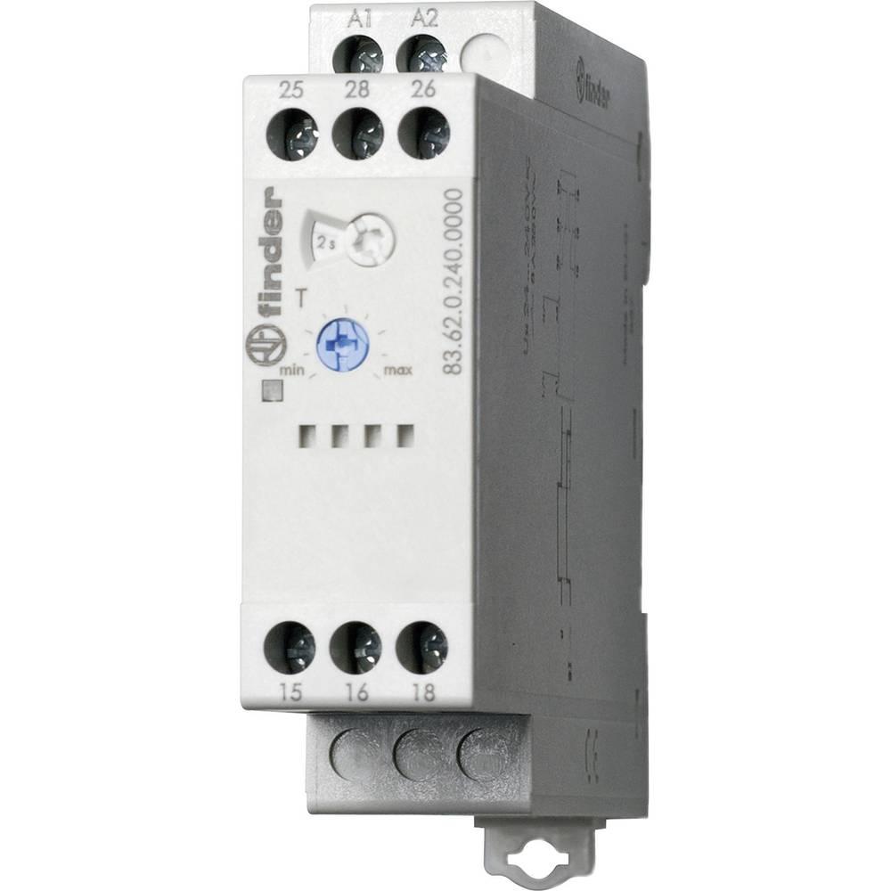 Monofunkcijski časovni relei za DIN-letev, Serie 83 1 kos Finder 83.62.0.240.0000 24 - 240 V DC/AC 2 x preklopni 8 A 250 V/AC