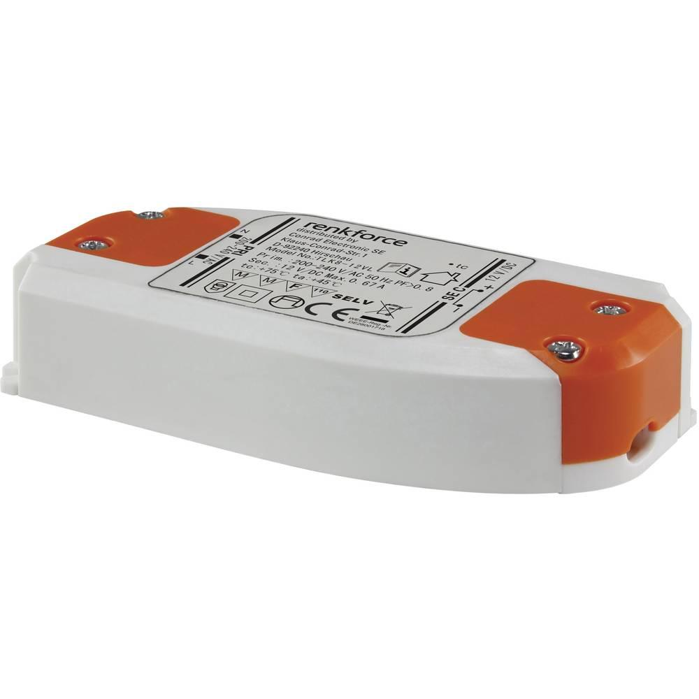 Renkforce LED gonilnik 0-8W 12VDC 667 mA 9283c50 bela, oranžna