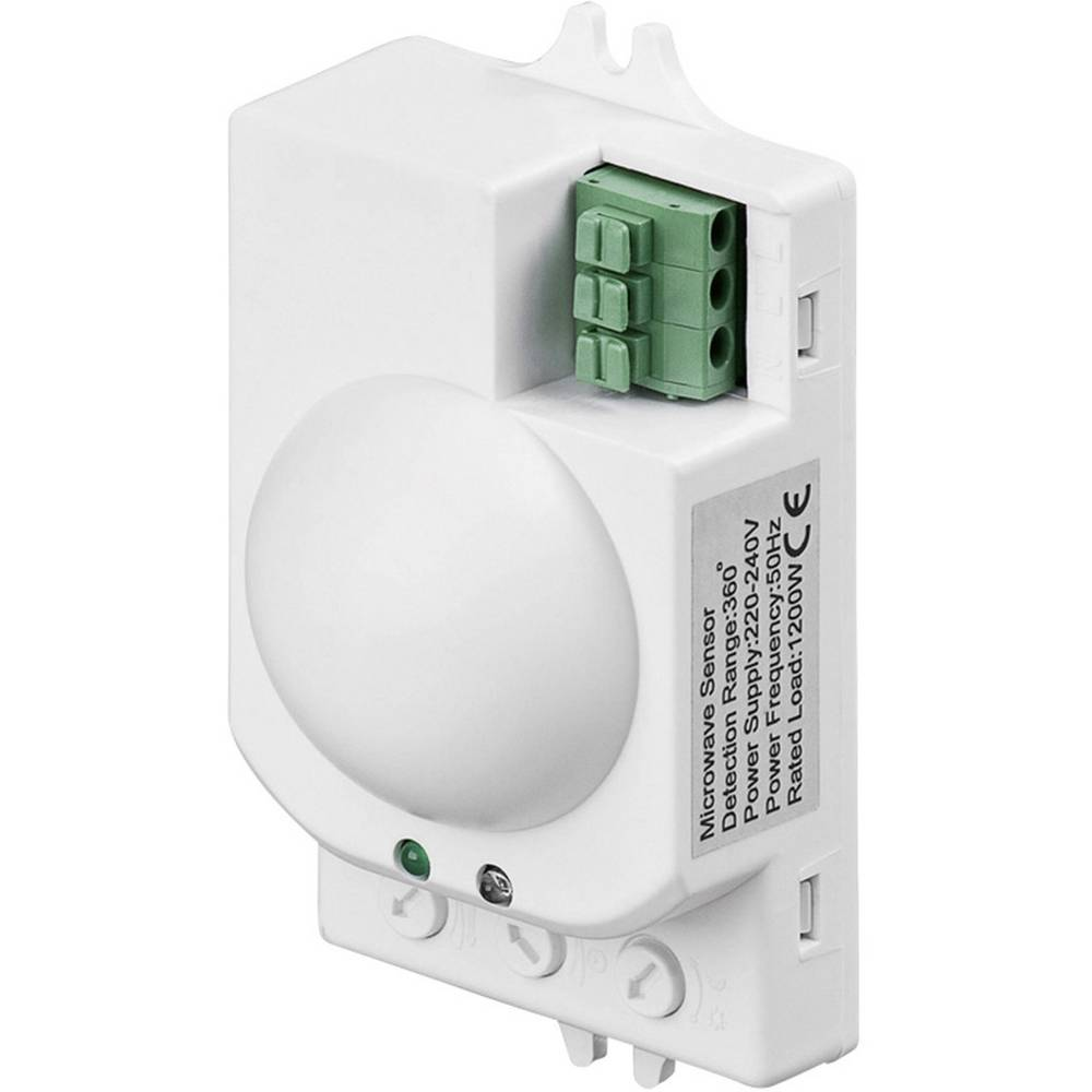 Goobay 96011 detektor gibanja z mikrovalovnim senzorjem, bele barve, kot zajemanja 360 stikalni kontakt: triac IP20