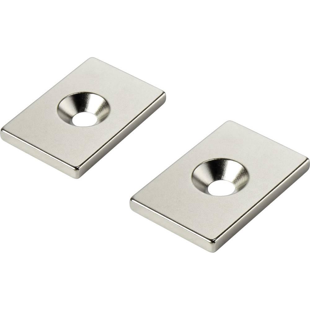 Stalni magnet , pravokotni N35 mejna temperatura (maks.): 80 °C W30L20T5-M5