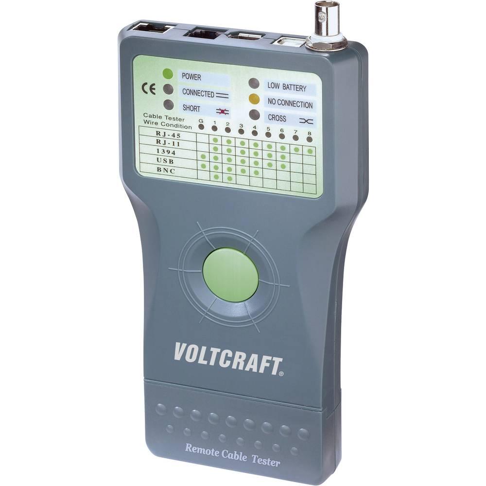 VOLTCRAFT® CT-5 tester za kable, primeren za RJ-45, BNC, RJ-11, IEE 1394, USB