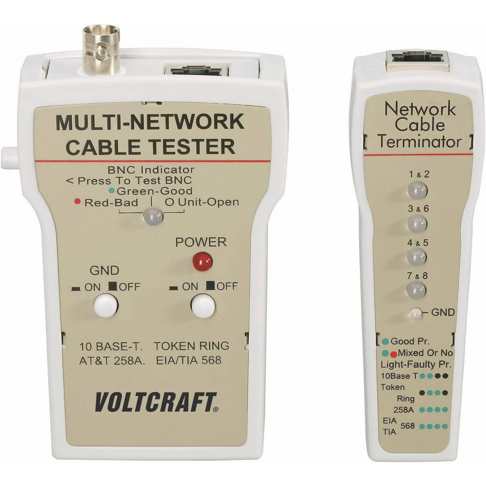 VOLTCRAFT® CT-1 tester za kable, tester kablov BNC, RJ-45, 10Base-T (UTP/STP), AT&T 258A, TIA 586A/B, Token Ring