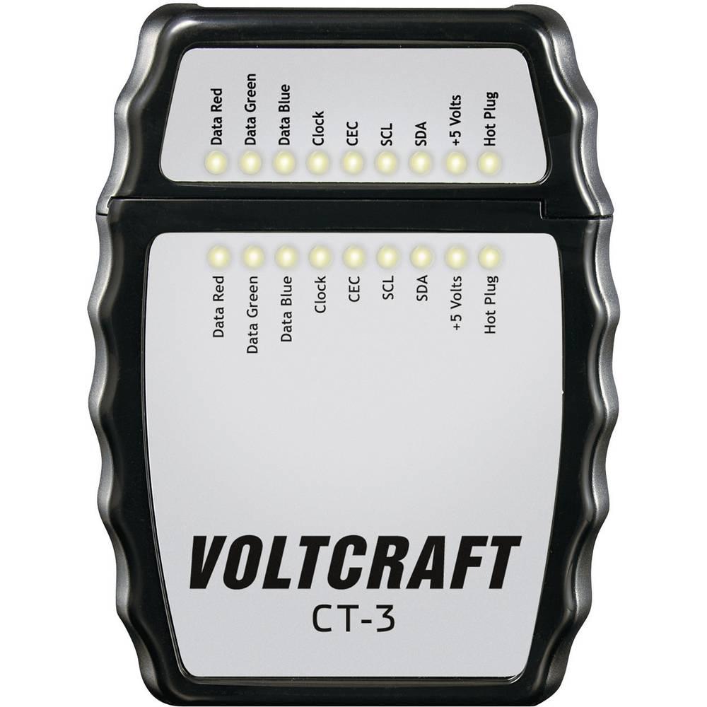 VOLTCRAFT CT-3 HDMI uređaj za ispitivanje kablova, ispitivač kabla za HDMI kabel tipa A, HDMI 1.0, 1.1, 1.2, 1.2a, 1.3a/b/c, 1.4
