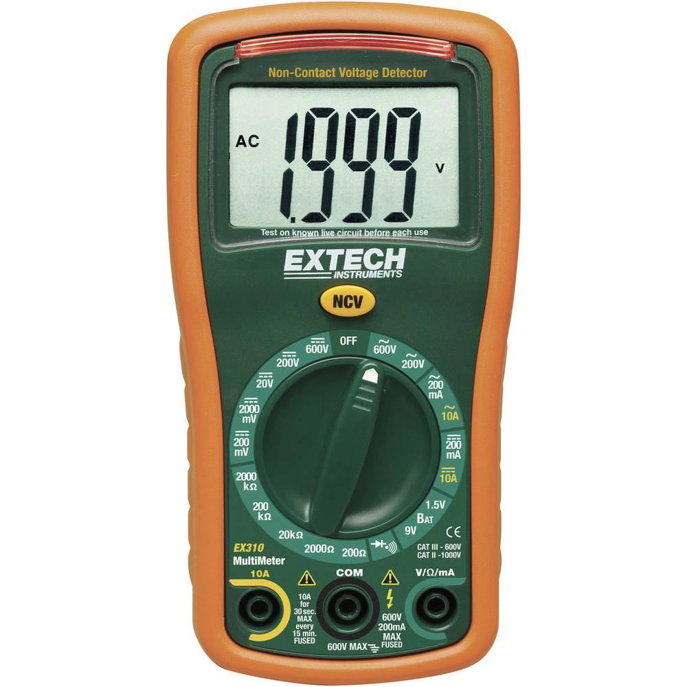 Ročni multimeter, digitalni Extech EX310 kalibracija narejena po: delovnih standardih, CAT III 600 V število znakov na zaslonu: