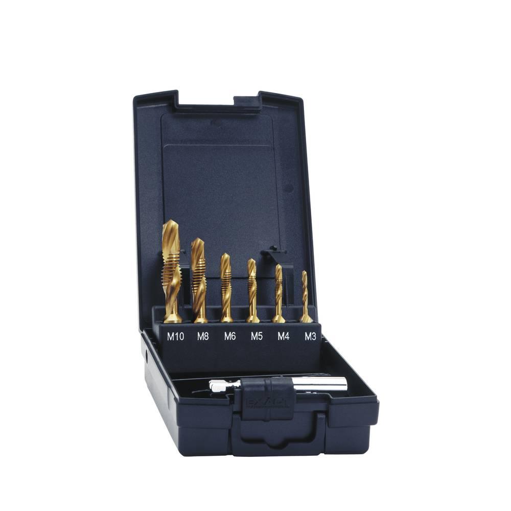 Kombinirano narezno svrdlo, 7-delni komplet, metrički navoj M3, M4, M5, M6, M8, M10 narezivanje u desno Exact 05930 HSS 1 set