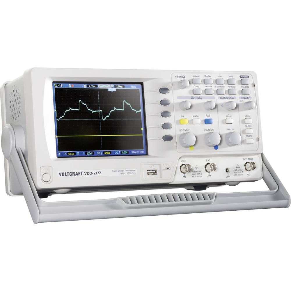 Digitalni osciloskop VOLTCRAFT VDO-2072 70 MHz 2-kanala 250 MSa/s 4 kpts 8 Bit kalibriran po DAkkS digitalni pomnilnik (DSO)