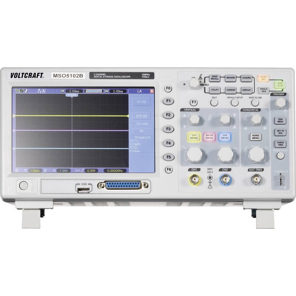 Digitalni osciloskop VOLTCRAFT MSO-5102B 100 MHz 18-kanal 1 GSa/s 512 kpts 8 Bit kalibriran po DAkkS digitalni pomnilnik (DSO),