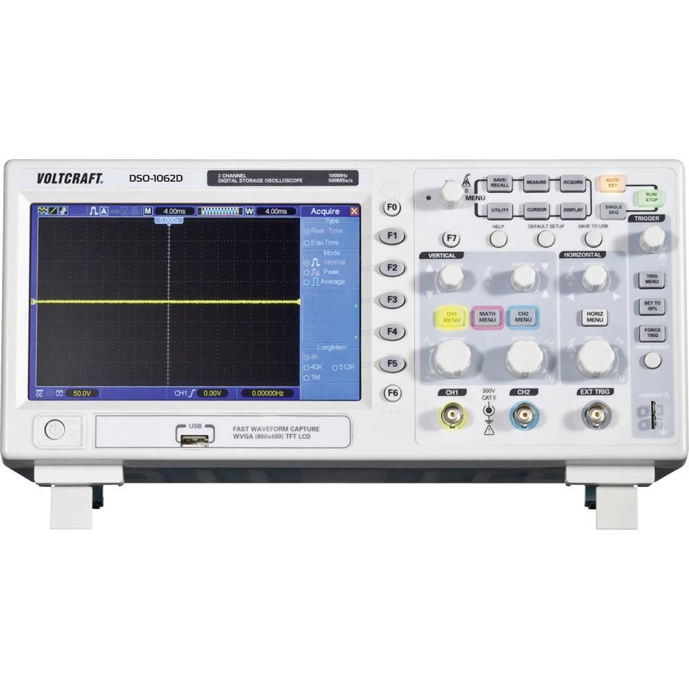 VOLTCRAFT DSO-1102D Digitalt oscilloskop 100 MHz 2 kanaler 500 MSa/s 512 kpts 8 Bit Digital lagring (DSO)