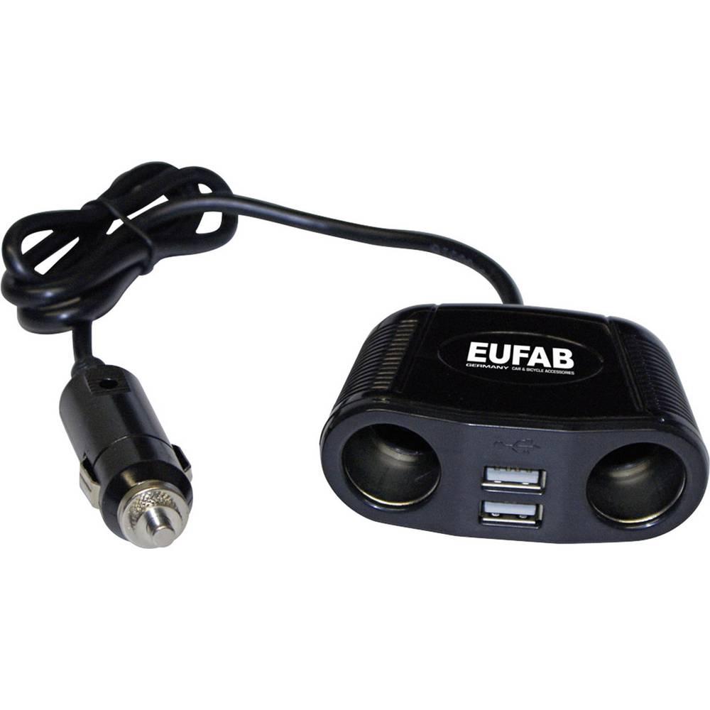 Fordeler Dobbel fordeler med dobbel USB-tilslutning Eufab Doppelsteckdose 12V mit Kabel und USB-Anschluss 12 V, 24 V 10 A